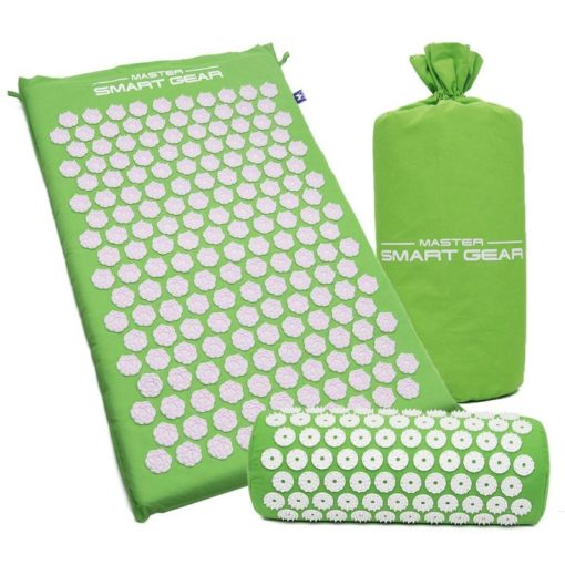 Acupressure Mat and Pillow and bag Set green