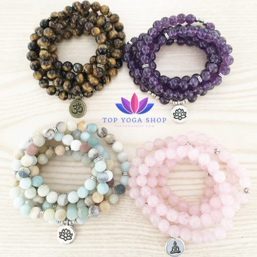 Yoga Bracelet 108 Mala Natural Stone